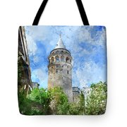 Galata Tower In Istanbul Tukey Tote Bag