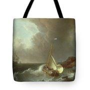 Galleon In Stormy Seas   Tote Bag by Jan Claes Rietschoof