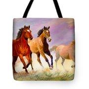 Galloping Horses Tote Bag