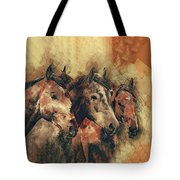 Galloping Wild Mustang Horses Tote Bag