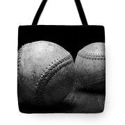 Game Used Baseballs In Black And White Tote Bag