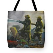 Garage Fire Tote Bag