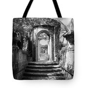 Garden Arches Of Vizcaya - Black And White Tote Bag