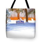 Garden  Bench With Snow Tote Bag