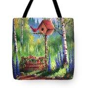 Garden Birdhouse Tote Bag