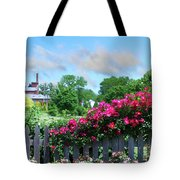 Garden Fence And Roses Tote Bag