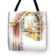 Garden Gate Botanical Landscape Tote Bag