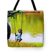 Garden Swing By The River Tote Bag