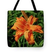 Garden With A Blooming Double Daylily Flowering Tote Bag