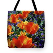 Garden With Blooming Yellow And Red Tulip Blossoms Tote Bag