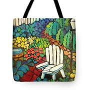 Garden With Lamp By Peggy Johnson Tote Bag