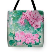 Garden With Pink Flowers Tote Bag