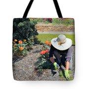 Gardener Pulling Weeds  Tote Bag