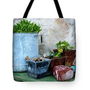 Gardening Pots And Small Shovel Against Stone Wall In Primosten, Croatia Tote Bag