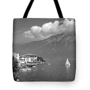 Gargnano On Lake Garda, Italy.    Black And White Tote Bag