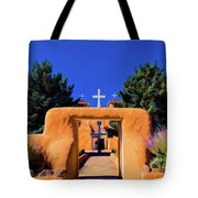 gate of church in Ranchos Tote Bag
