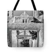 Gate To Ranchos Church Black And White Tote Bag