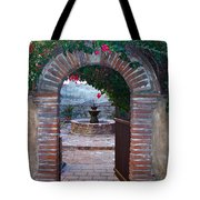 Gate To The Sacred Garden And Bell Wall Mission San Juan Capistrano California Tote Bag