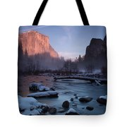Gates Of The Valley In Winter Tote Bag