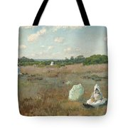 Gathering Autumn Flowers By William Merritt Chase Tote Bag