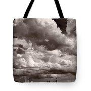 Gathering Clouds Over Lake Geneva Bw Tote Bag