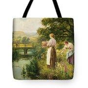 Gathering Spring Flowers Tote Bag