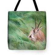 Gazelle In The Grass Tote Bag