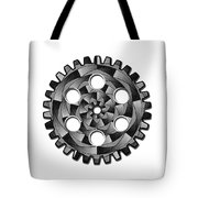 Gearwheel In Black And White Tote Bag