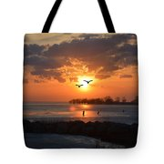 Geese At Sunset Tote Bag