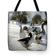 Geese At The Frozen Horninglow Basin Tote Bag