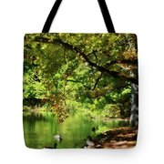 Geese By Pond In Autumn Tote Bag