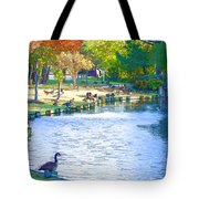 Geese In Pond 3 Tote Bag