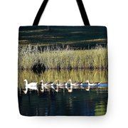 Geese Mother And Young Tote Bag