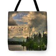 Geese Over Jericho Lake Tote Bag