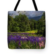 Geese Over Lupine Field Tote Bag