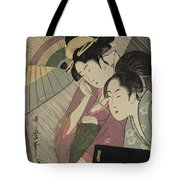 Geisha And Attendant On A Rainy Night Tote Bag