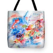 Geisha On Mountain Top Tote Bag
