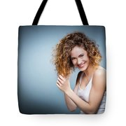 Geniue Portrait Of A Young Positive, Smiling Girl. Tote Bag