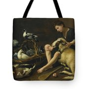 Genre Scene Of A Seated Boy With Bat Tote Bag
