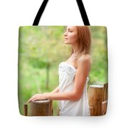Gentle Woman On Terrace Tote Bag