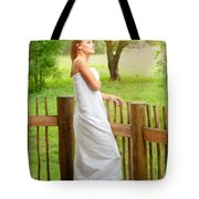 Gentle Woman Standing On The Porch  Tote Bag