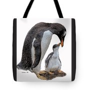 Gentoo Penguins Tote Bag by Larry Linton
