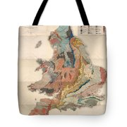 Geological Map Of England And Wales - Historical Relief Map - Antique Map - Historical Atlas Tote Bag