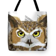 Geometric Great Horned Owl Tote Bag