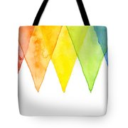 Geometric Watercolor Pattern Rainbow Triangles Tote Bag