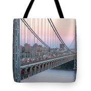 George Washington Bridge And Lighthouse I Tote Bag