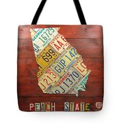 Georgia License Plate Map Tote Bag