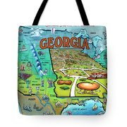 Georgia Usa Cartoon Map Tote Bag