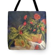 Geranium And Fern Still Life Tote Bag