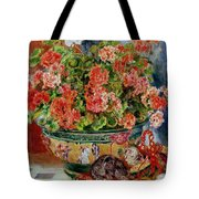 Geraniums And Cats Tote Bag
